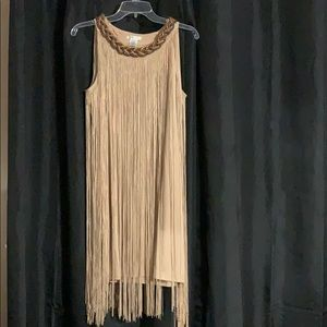 Tan Fringe Dress